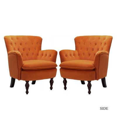 Isabella Orange Tufted Accent Chair (Set of 2)