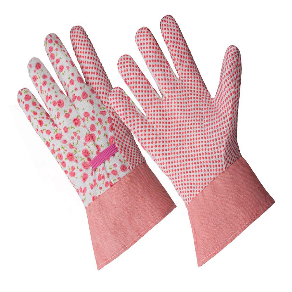 HANDS ON Ladies Small/Medium Pink Flower Poly/Cotton Blend Gloves with PVC Dotted Palm and Band Cuff