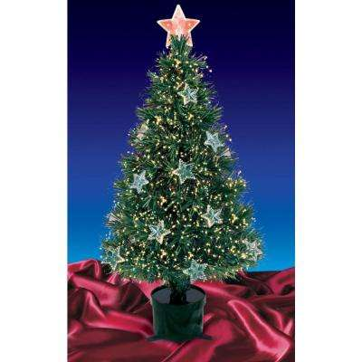 4 ft. Pre-Lit Fiber Optic Artificial Christmas Tree with Stars