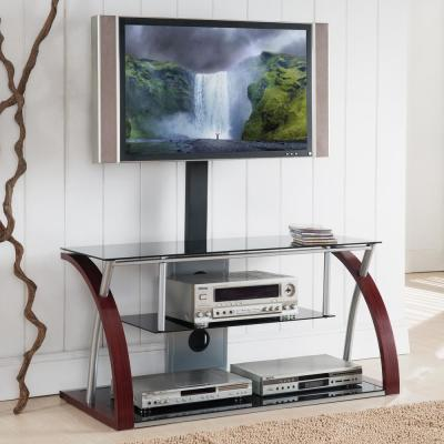 Home Source Mason Plasma TV Stand with Mount and 3 Black Glass Shelves, Cherry Wood Grain and Chrome Frame