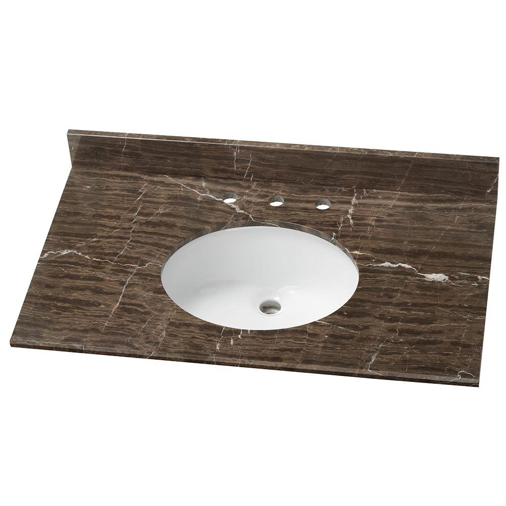37 in. Stone Effects Vanity Top in Coffee with White Basin