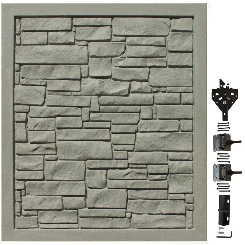 EcoStone 5 ft. W x 6 ft. H Grey Composite Privacy
