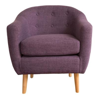 Naveen Button Back Muted Purple Fabric Club Chair