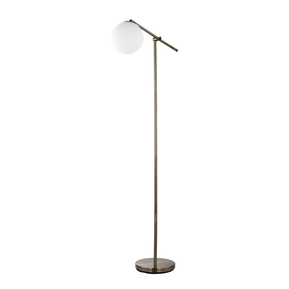 Globe electric portland 65 in brass floor lamp with white frosted glass shade
