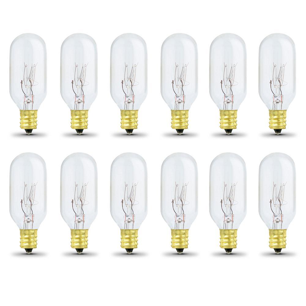 15-Watt Soft White (2700K) T7 Candelabra E12 Dimmable Incandescent Light Bulb (12-Pack)