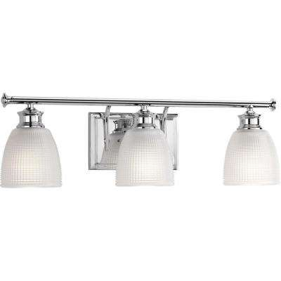 Lucky Collection 24 in. 3-Light Polished Chrome Vanity Light with Clear Double Prismatic Glass Shades