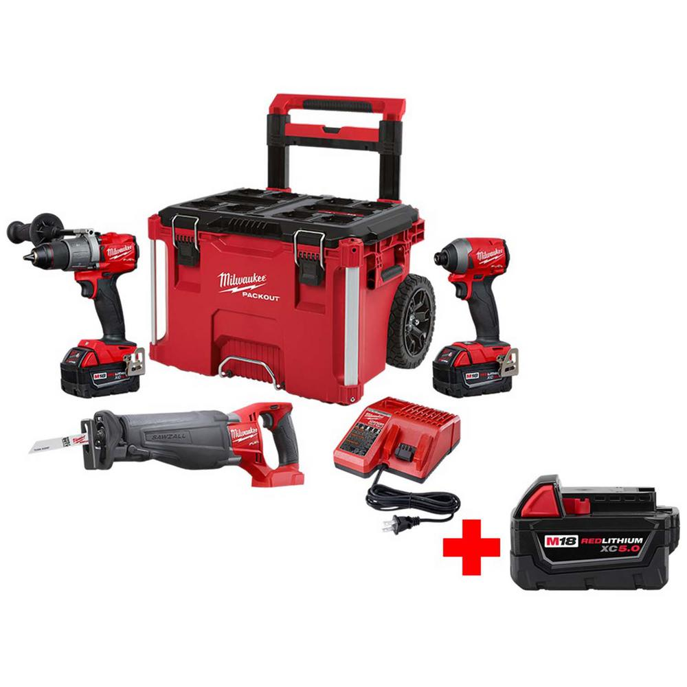 Milwaukee M18 FUEL 18-Volt Lithium-Ion Brushless Cordless Combo Kit 3-Tool with Free M18 5.0 Ah Battery, PACKOUT Rolling Tool Box