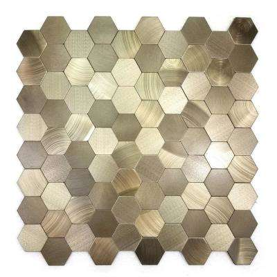 Enchanted Metals Copper Hexagon Mosaic 12 in. x 12 in. Brushed Peel & Stick Wall Tile (0.9 sq. ft.)