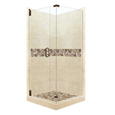 Tuscany Grand Hinged 38 in. x 38 in. x 80 in. Left-Hand Corner Shower Kit in Desert Sand and Old Bronze Hardware