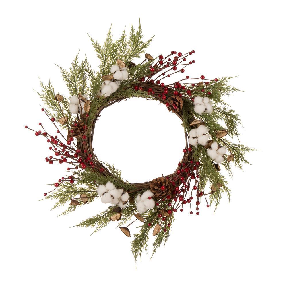 Glitzhome 22 in. Dia Christmas Cotton Berries Wreath-1117202605 ...