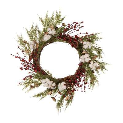 22 in. Dia Christmas Cotton Berries Wreath