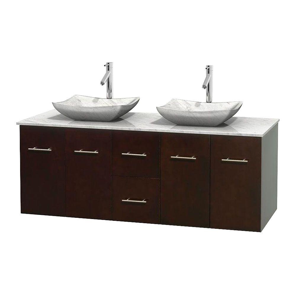 Wyndham Collection Centra 60 in. Double Vanity in Espresso with Marble Vanity Top in Carrara White and Sinks
