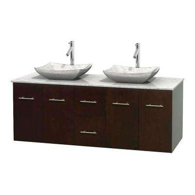 Exceptional Double Vanity In Espresso With Marble Vanity Top In Carrara White And