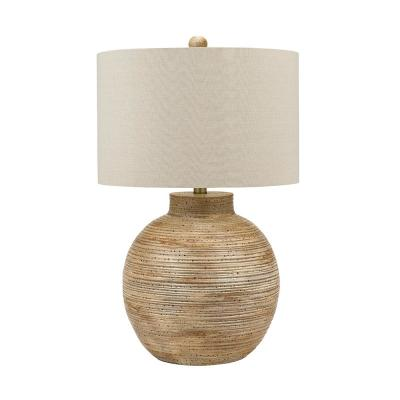 Cresswell 32.5 in. Faux Driftwood Coastal Gourd Table Lamp