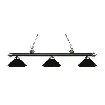 Bandini 3-Light Matte Black and Brushed Nickel Island Light with Matte Black Metal Shades