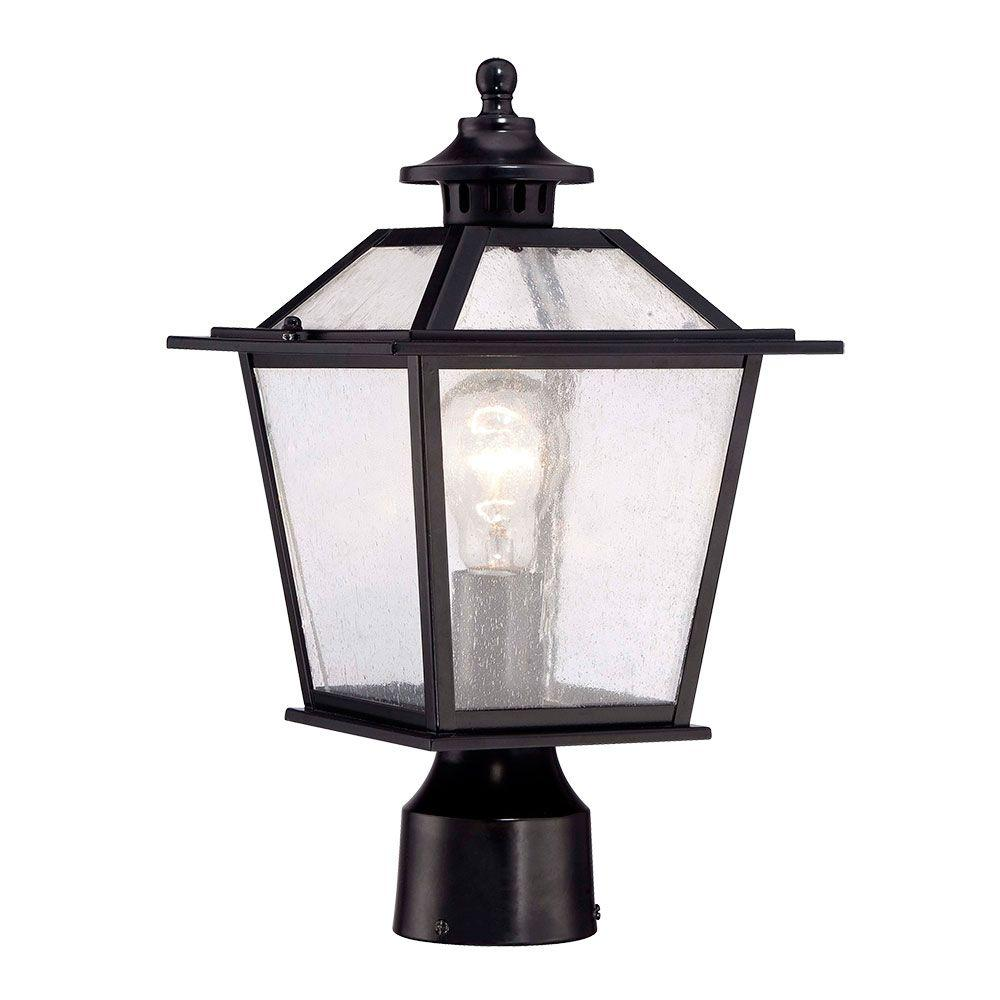 Acclaim lighting salem collection 1 light matte black outdoor post acclaim lighting salem collection 1 light matte black outdoor post mount light 9707bk the home depot mozeypictures Gallery