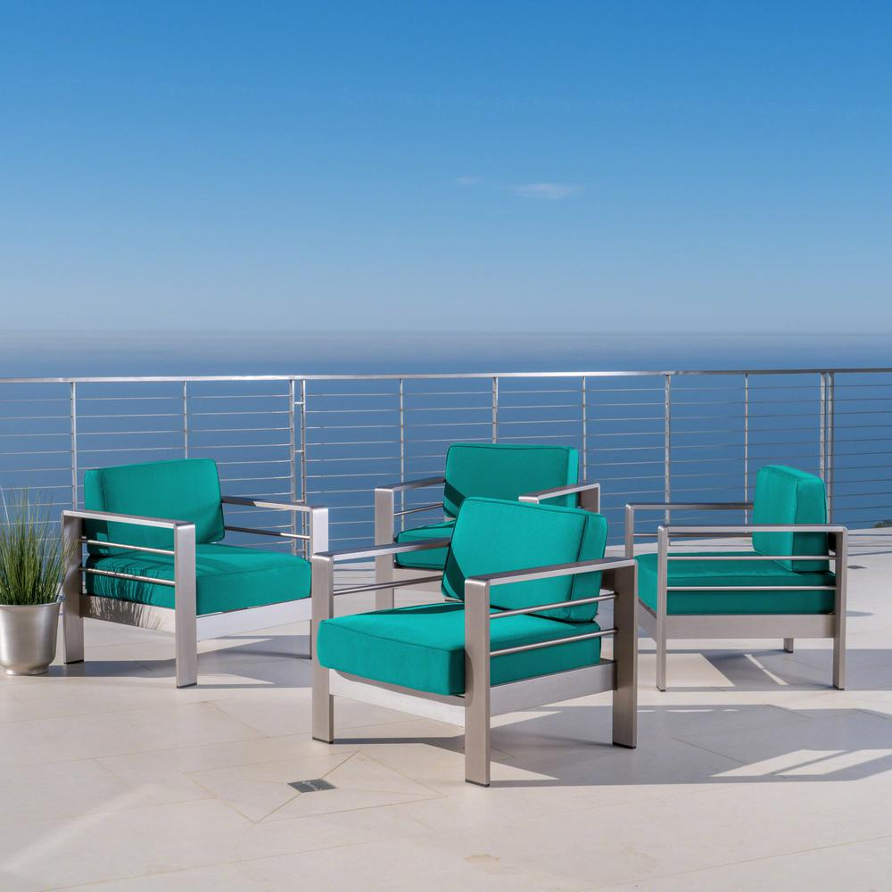 Noble House Cape Coral Silver Armed Metal Outdoor Lounge Chairs with Canvas Teal Sunbrella Cushions (4-Pack)