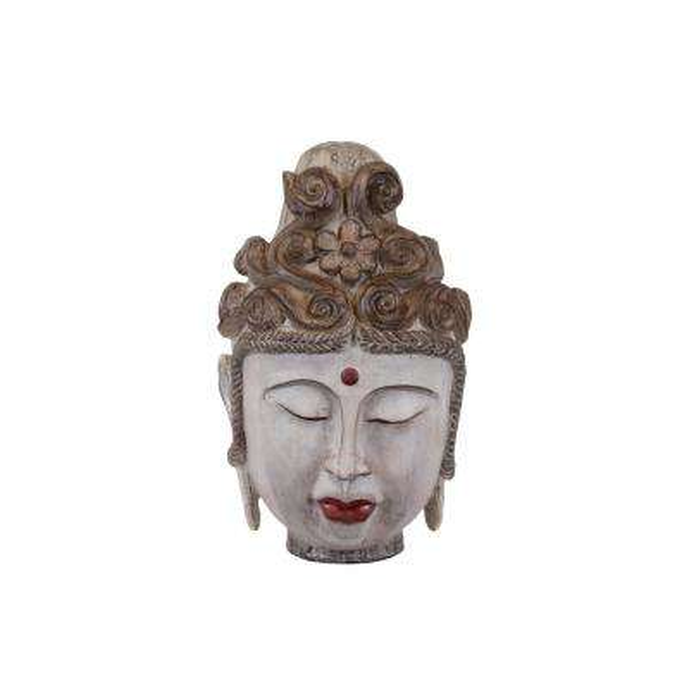 15.5 in. H Buddha Decorative Sculpture in White, Red Natural Finish