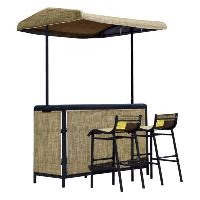 3-Piece Metal Rectangle Bar Height Outdoor Serving Bar Set with Two Chairs