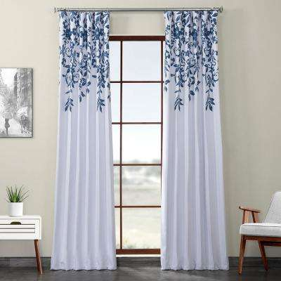 Temple Garden Blue Printed Linen Textured Blackout Curtain - 50 in. W x 120 in. L (1-Panel)