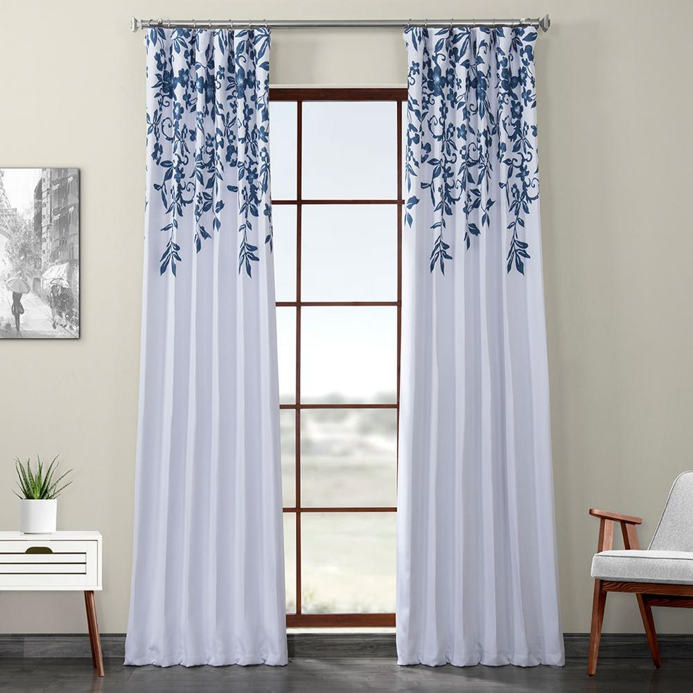 Exclusive Fabrics & Furnishings Temple Garden Blue Printed Linen Textured Blackout Curtain - 50 in. W x 84 in. L (1-Panel)