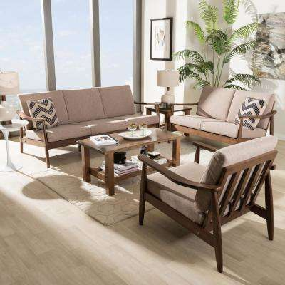 "Venza 3-Piece Light Brown and ""Walnut"" Brown Living Room Set"