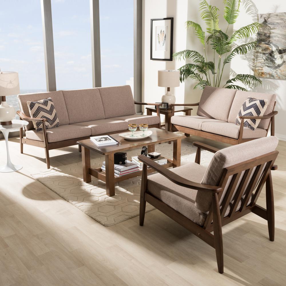 Modern Walnut Living Room Furniture brown - mid-century modern - living room sets - living room