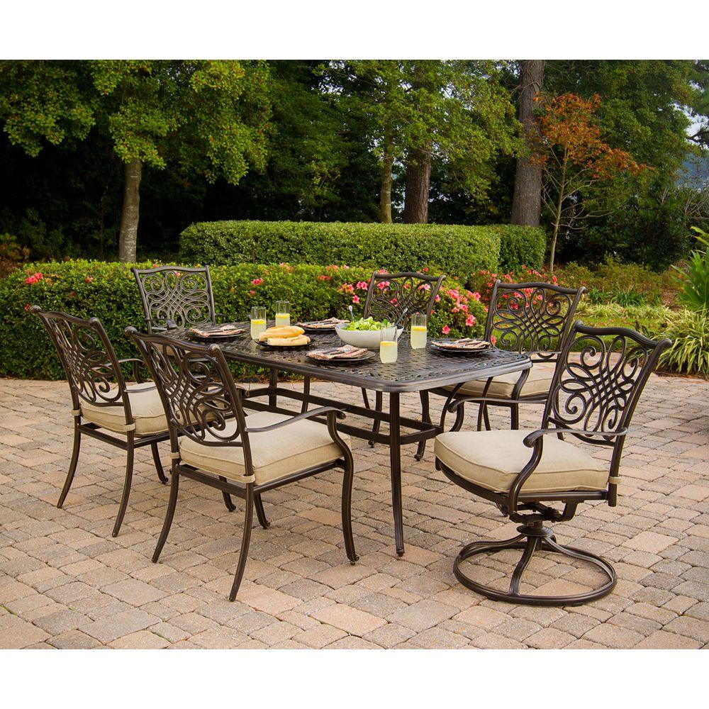 Hanover Traditions 7 Piece Patio Outdoor Dining Set With 4 Chairs 2 Swivel And 38 In X 72 Table Traditions7pcsw The Home Depot
