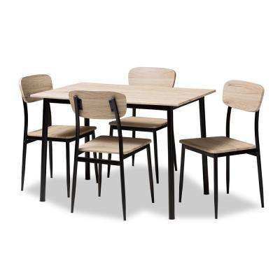 Honore 5-Piece Light Brown Dining Set