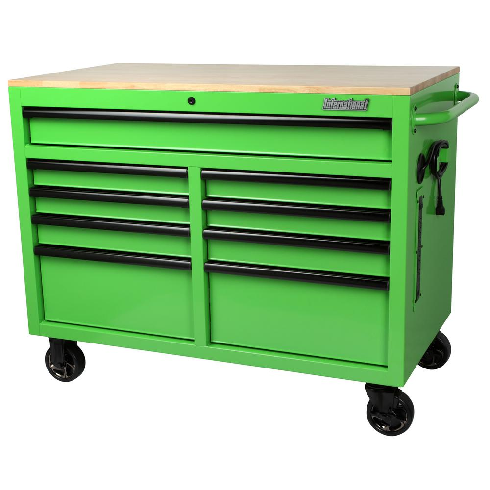 International 46 in. W x 24.5 in. D 9-Drawer Tool Chest Mobile Workbench with Solid Wood Top in Green