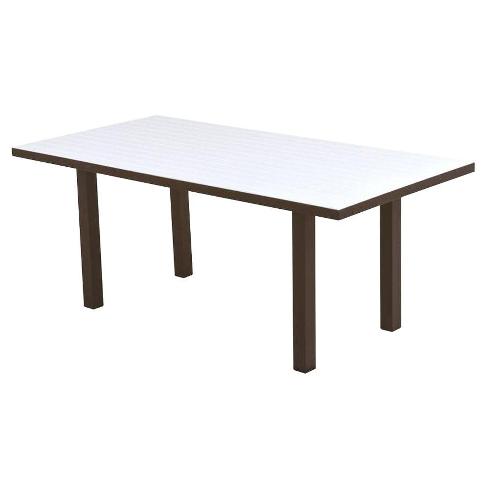 POLYWOOD Euro Textured Bronze 36 in. x 72 in. Patio Dining Table ...