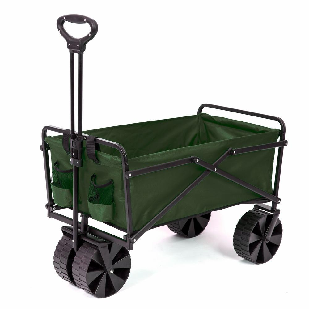 Collapsible Steel Frame Folding Utility Beach Wagon Outdoor Cart in Green