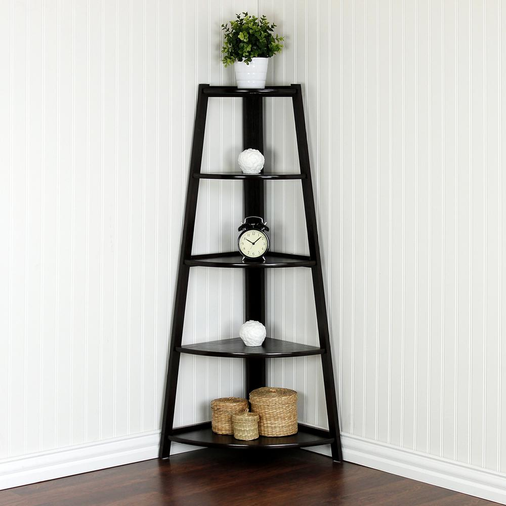 Yaotai Espresso Corner Ladder Shelf