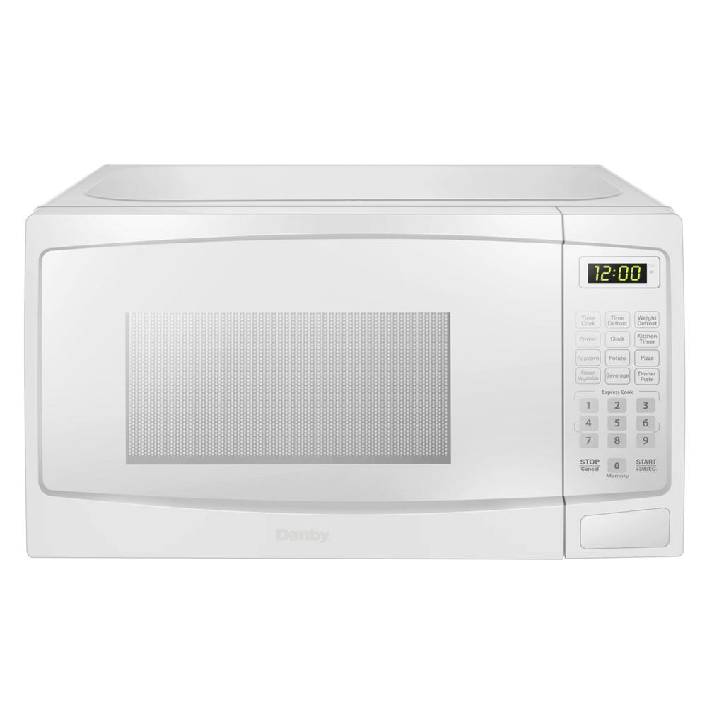 Danby 0 7 Cu Ft Countertop Microwave In White Dbmw0720bww The Home Depot