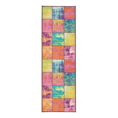 Studio Collection Boxes Design Multi 2 ft. x 5 ft. Non-Skid Runner Rug