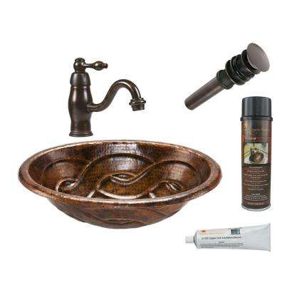 All-in-One Oval Braid Self Rimming Hammered Copper Bathroom Sink in Oil Rubbed Bronze