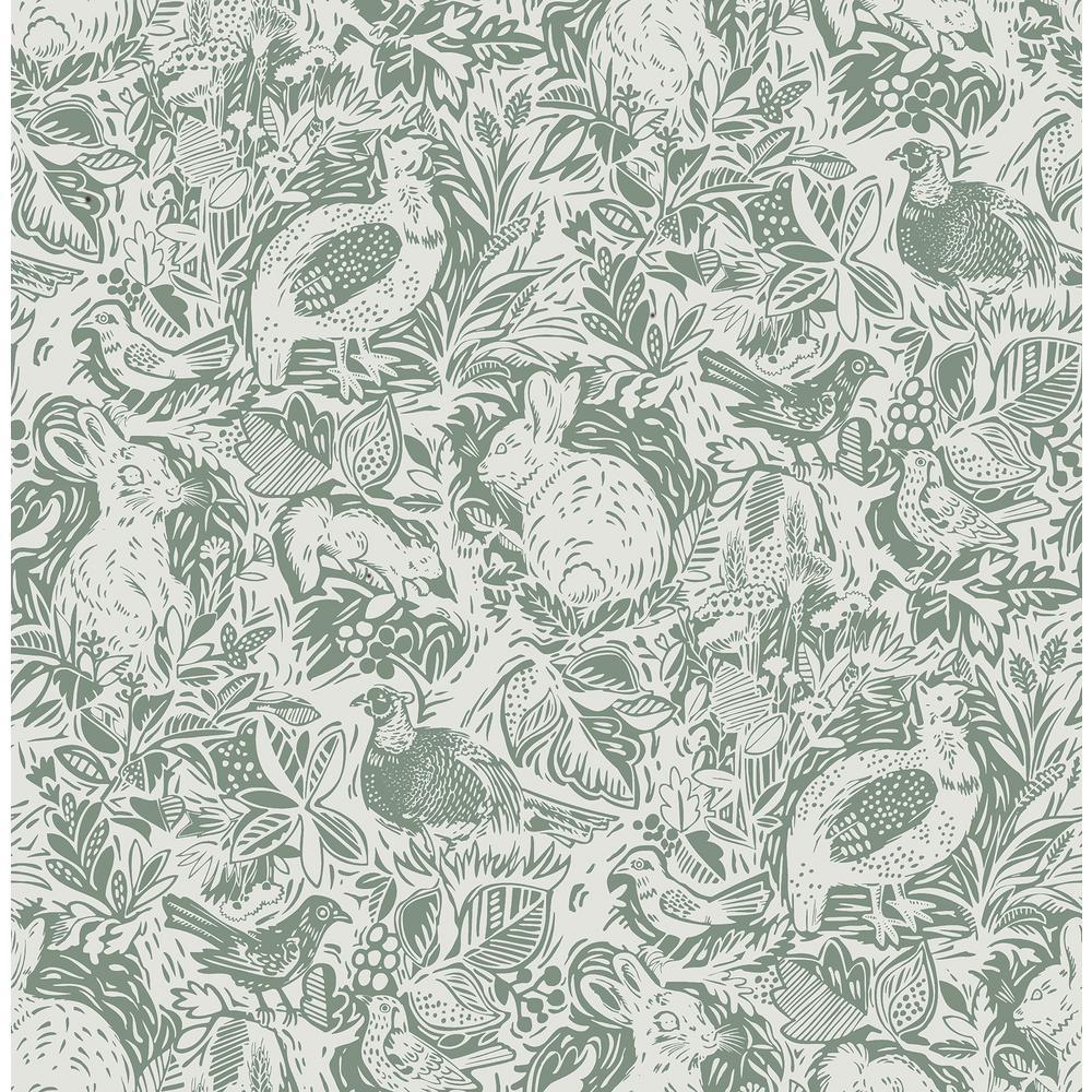 Revival Dark Green Fauna Wallpaper