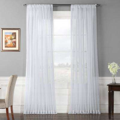 Doublewide Solid Voile Poly Sheer Curtain in White - 100 in. W x 96 in. L