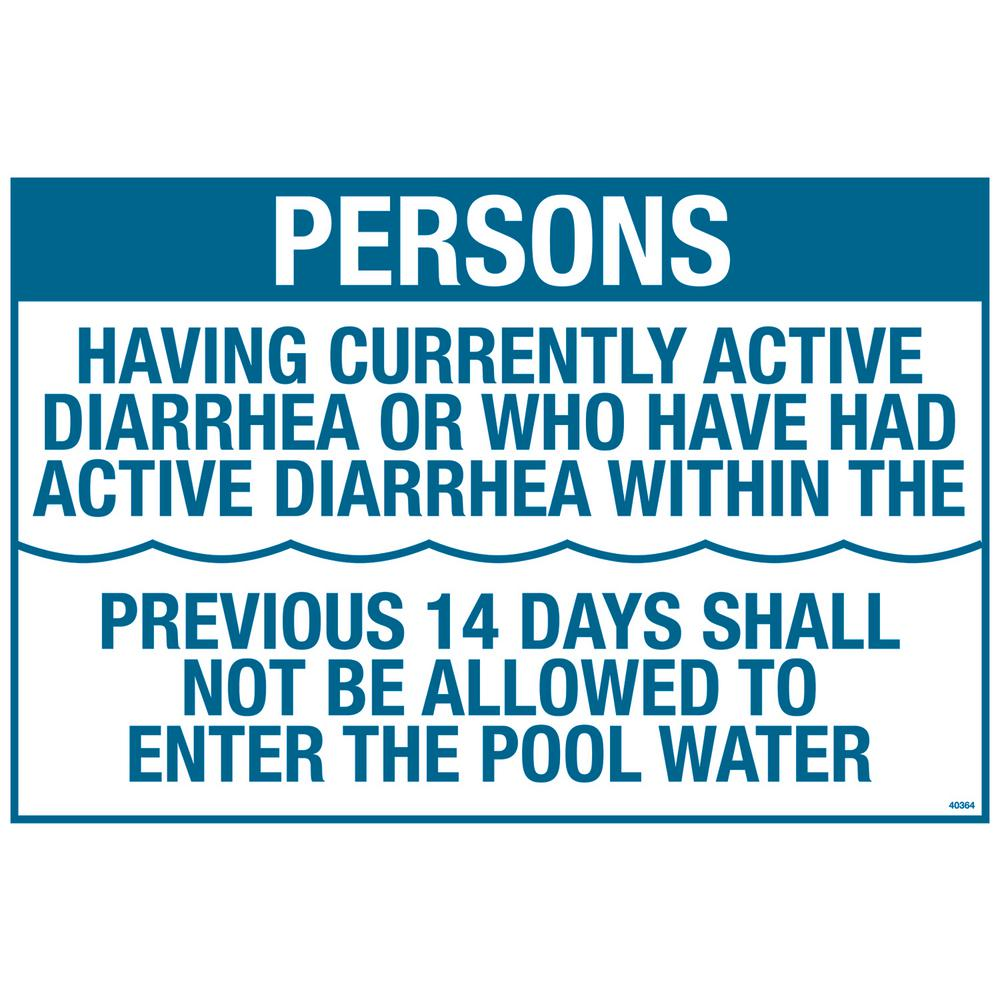Residential or Commercial Swimming Pool Signs, Persons Having Active Diarrhea