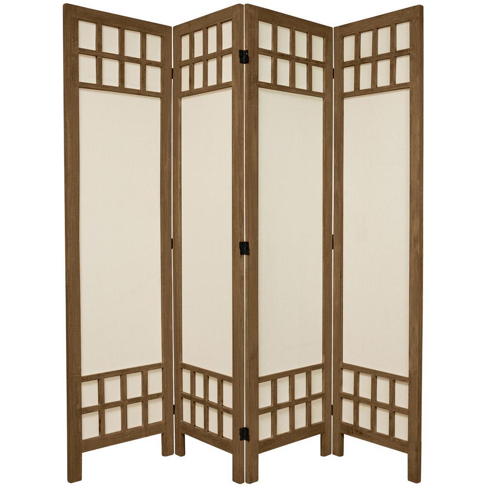 Oriental Furniture 6 Ft Burnt Grey Muslin Window Pane 4