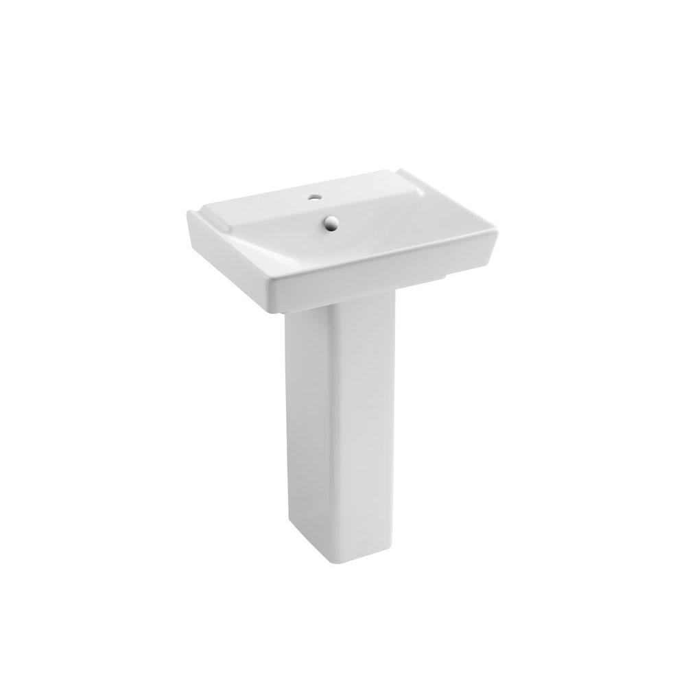 KOHLER Reve Single Hole Ceramic Pedestal Bathroom Sink Combo In White With Overflow  Drain