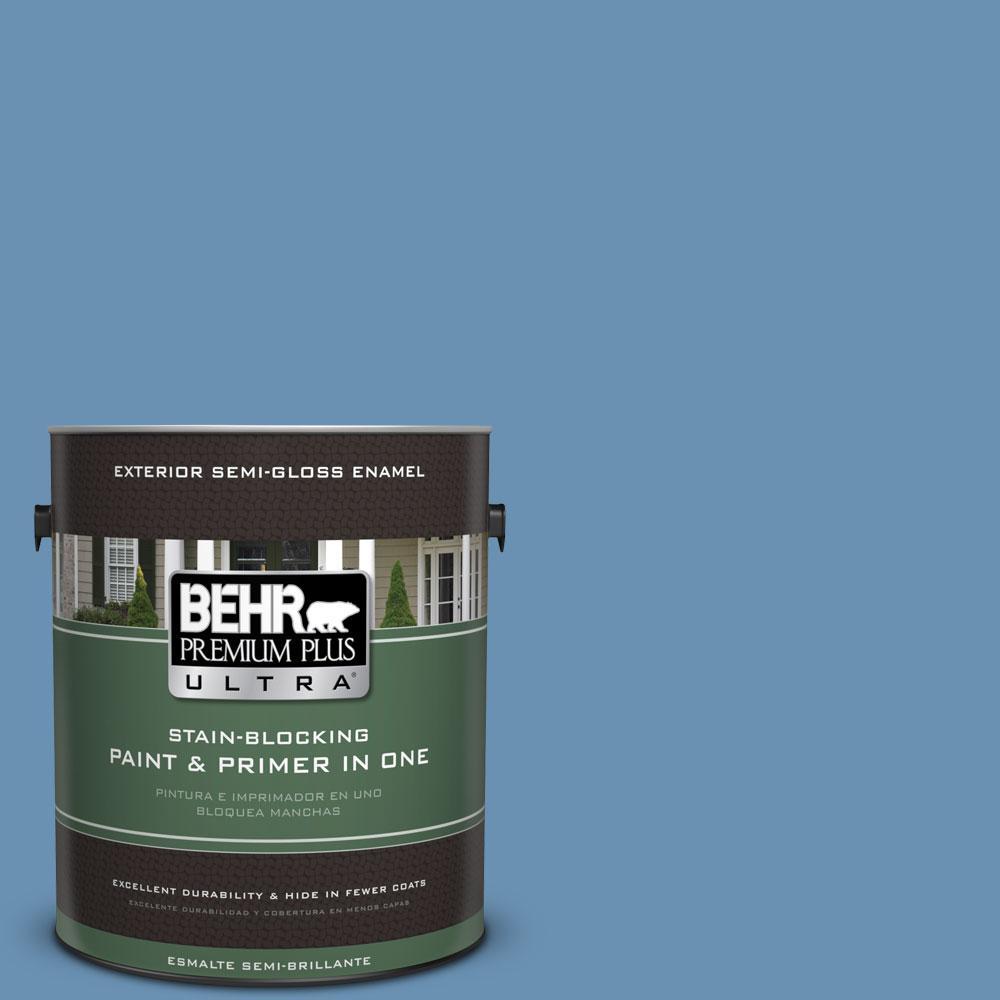 1-gal. #M510-4 Brittany Blue Semi-Gloss Enamel Exterior Paint