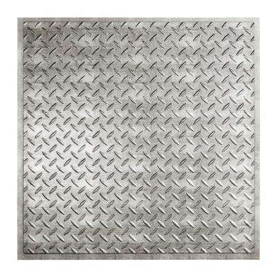 Diamond Plate - 2 ft. x 2 ft. Revealed Edge Lay-in Ceiling Tile in Crosshatch Silver