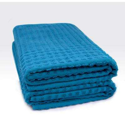 Piano Collection 27 in. W x 55 in. H 100% Turkish Cotton Luxury Bath Towel in Midnight Blue (Set of 2)