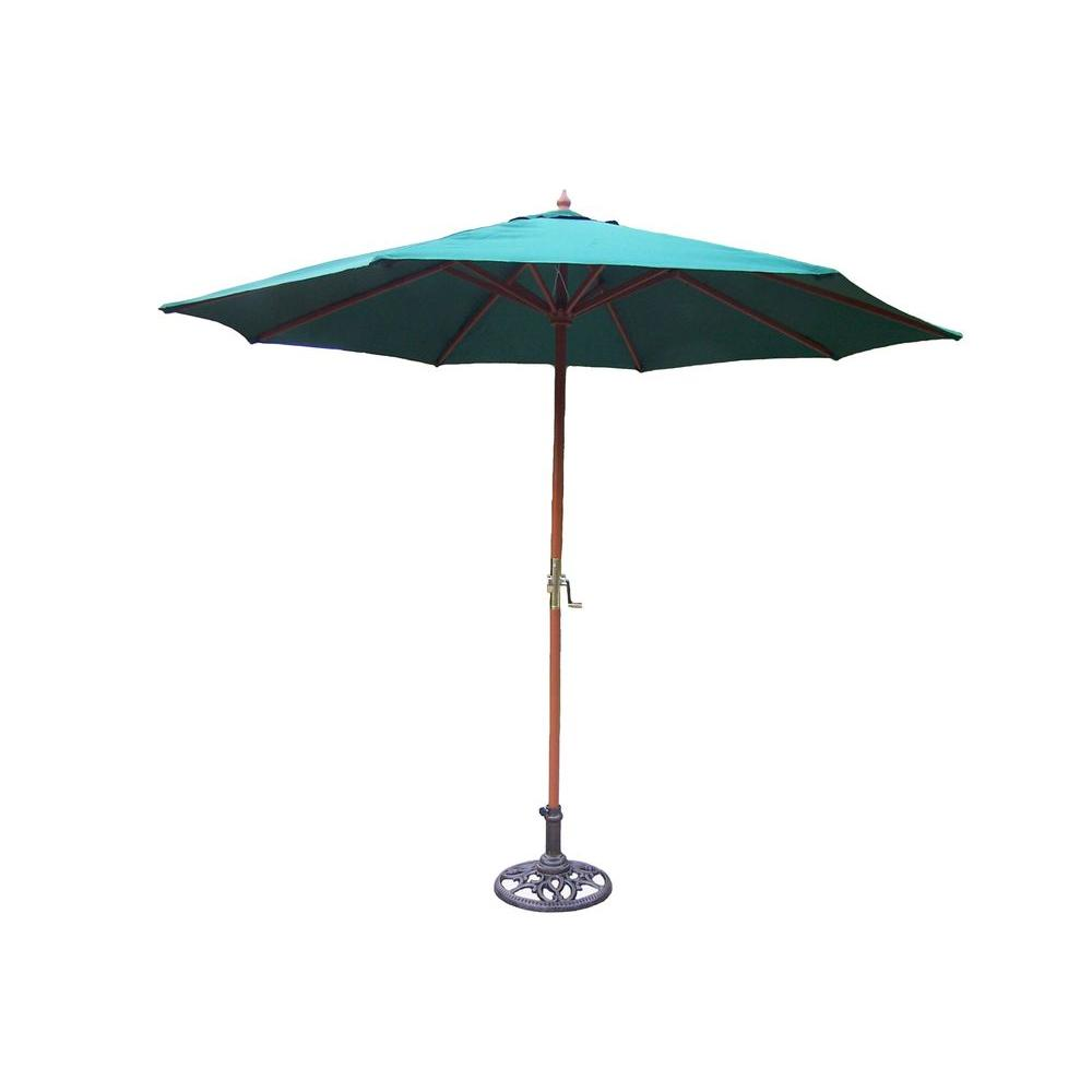 Oakland 9 ft. Patio Umbrella in Green with Stand