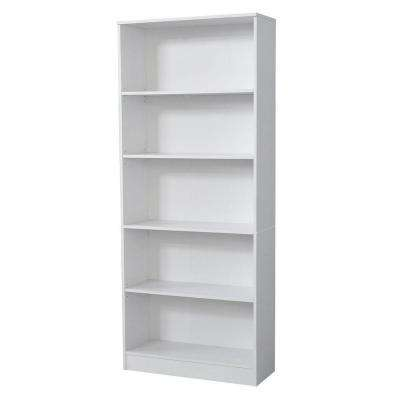 5-Shelf Standard Bookcase in White