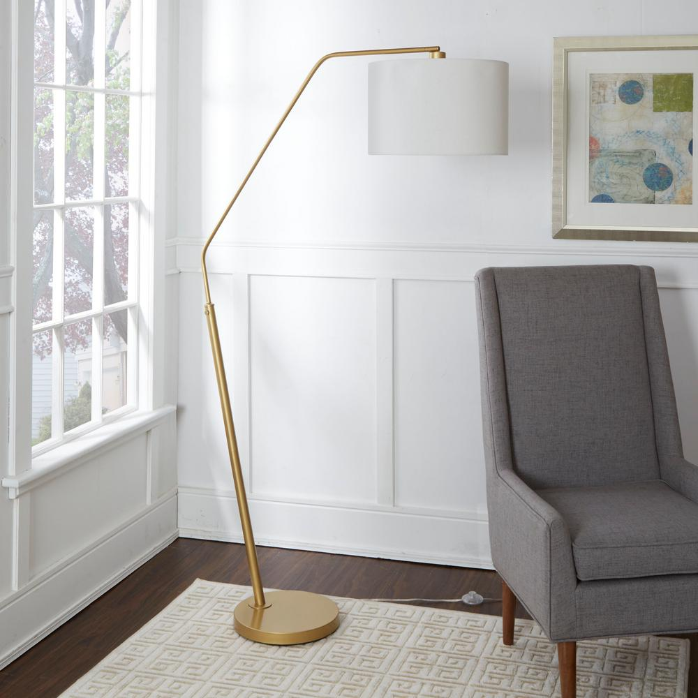 Silverwood Furniture Reimagined Denton 68.25 in. Gold Floor Lamp with Shade