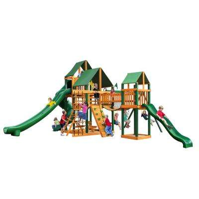 Treasure Trove II Swing Set with Timber Shield and Sunbrella Canvas Forest Green Canopy Cedar Playset