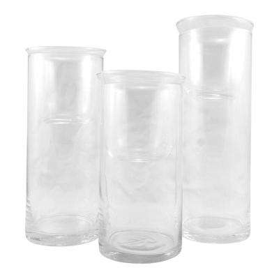 Clear Cylinder Glass Hurricane Candle Holder (Set of 3)