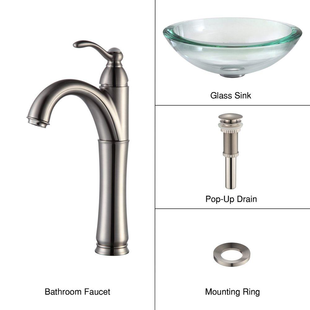 34 mm Edge Glass Vessel Sink in Clear with Riviera Faucet